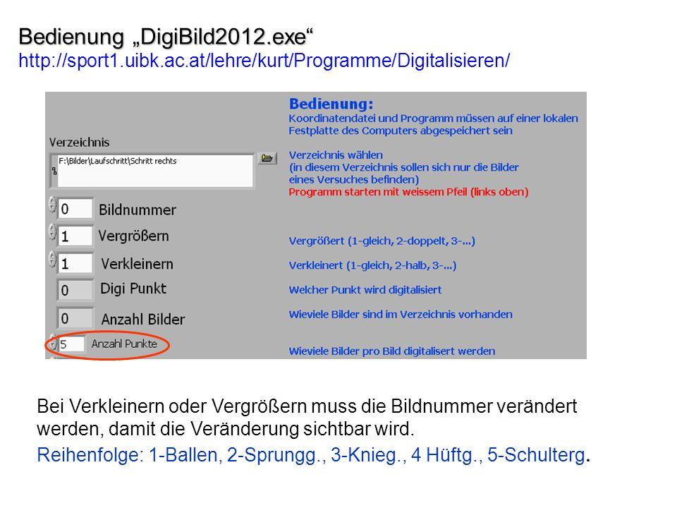 Bedienung DigiBild2012.exe Bedienung DigiBild2012.exe http://sport1.uibk.ac.at/lehre/kurt/Programme/Digitalisieren/ Bei Verkleinern oder Vergrößern muss die Bildnummer verändert werden, damit die Veränderung sichtbar wird.