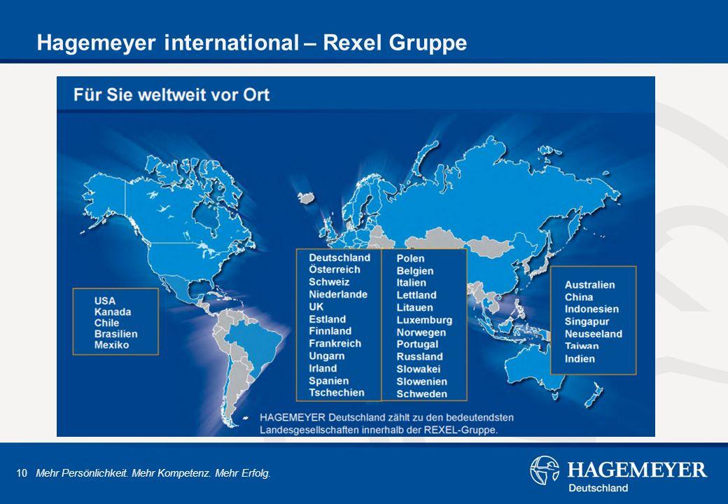 10 Mehr Persönlichkeit. Mehr Kompetenz. Mehr Erfolg. Hagemeyer international – Rexel Gruppe