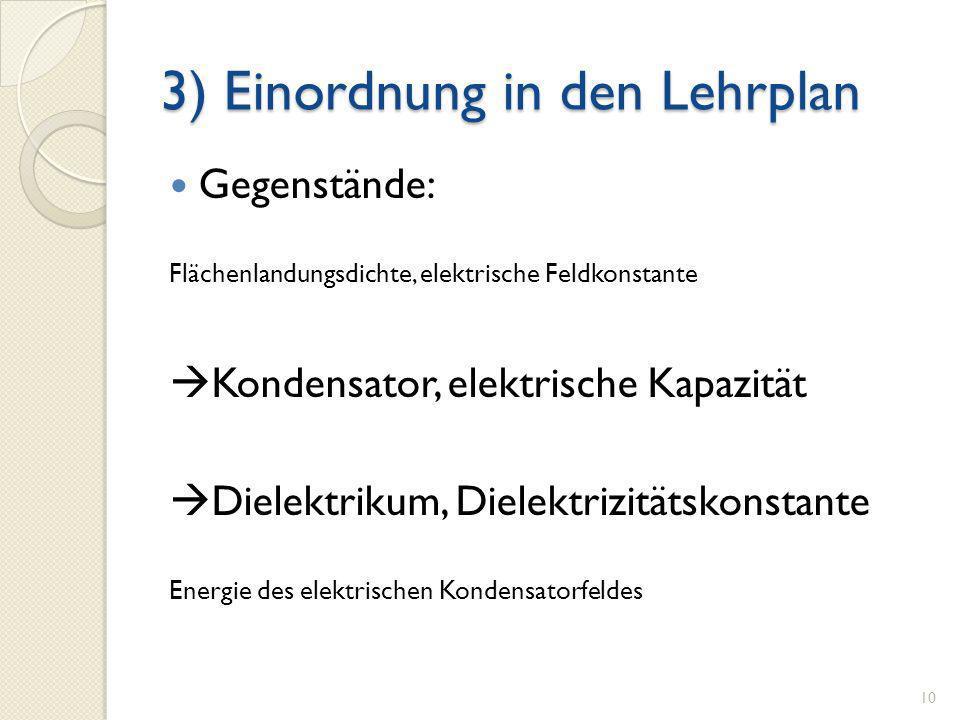 3) Einordnung in den Lehrplan Gegenstände: Flächenlandungsdichte, elektrische Feldkonstante Kondensator, elektrische Kapazität Dielektrikum, Dielektri