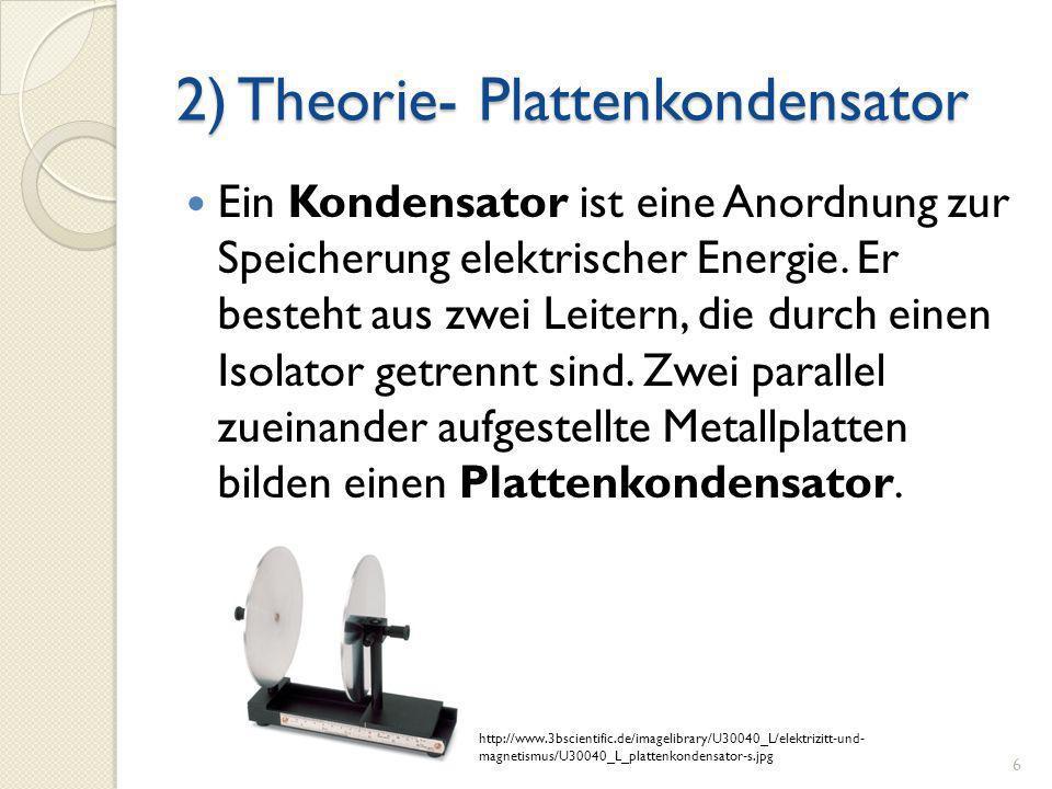 2) Theorie- Plattenkondensator Ein Kondensator ist eine Anordnung zur Speicherung elektrischer Energie. Er besteht aus zwei Leitern, die durch einen I