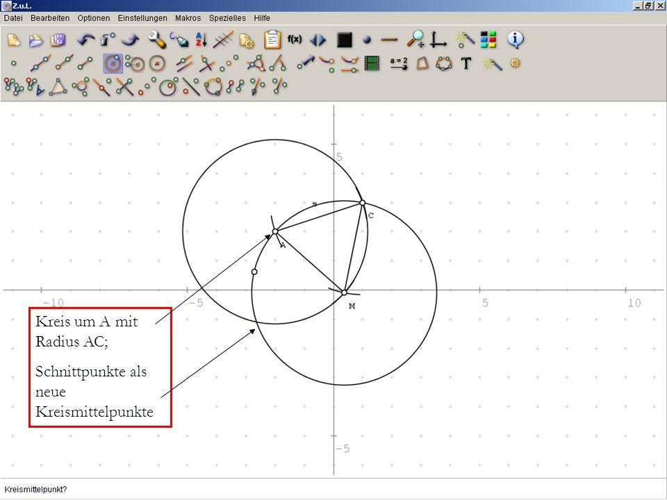 Kreis um A mit Radius AC; Schnittpunkte als neue Kreismittelpunkte