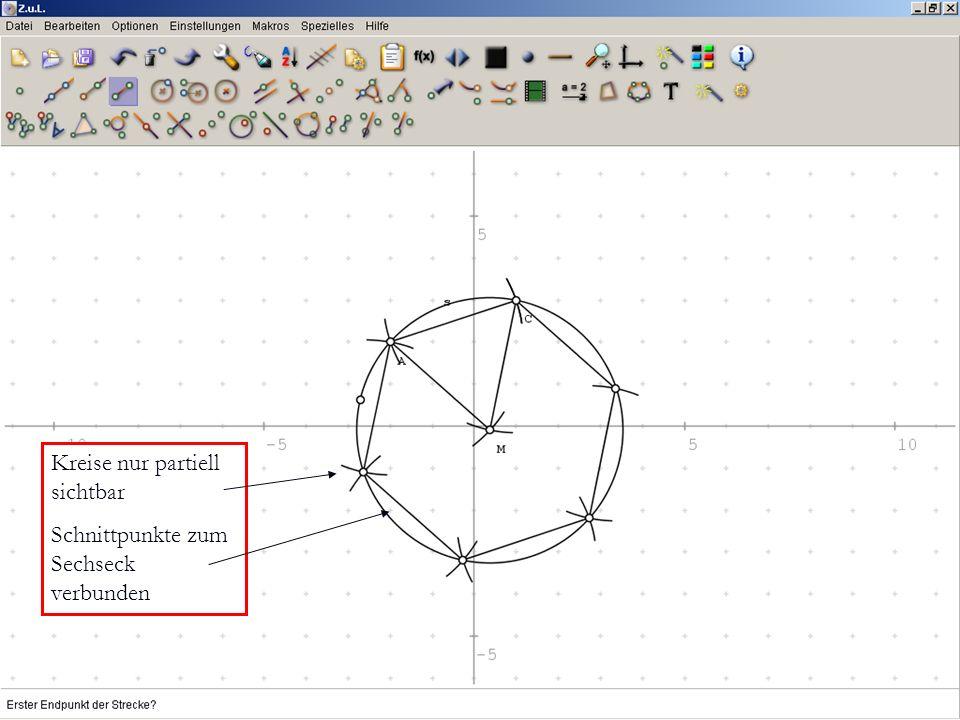 Kreise nur partiell sichtbar Schnittpunkte zum Sechseck verbunden