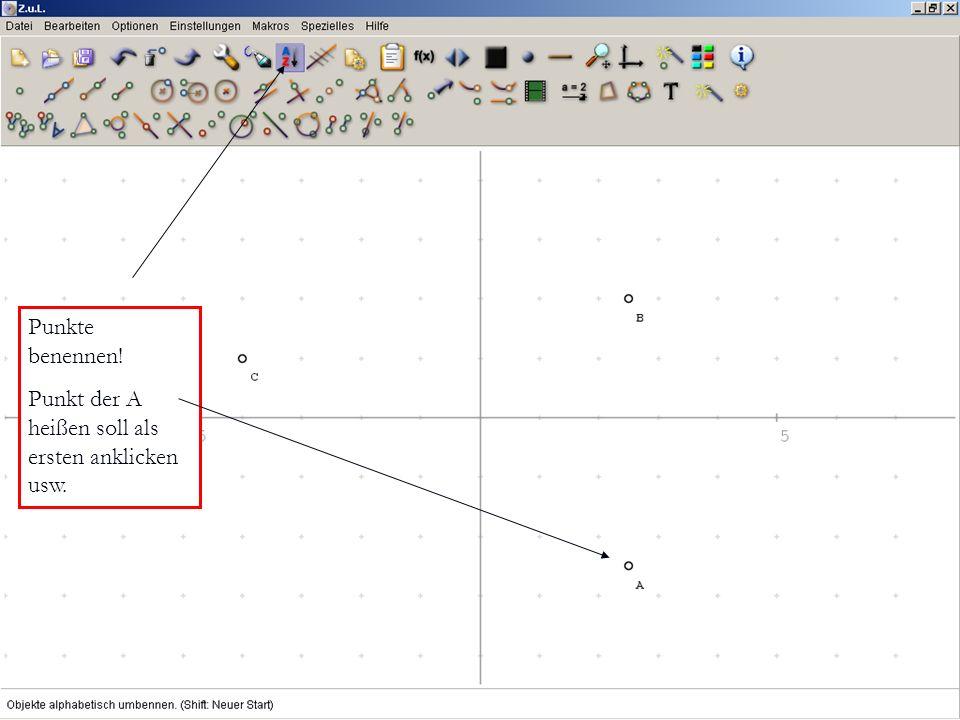 Punkte benennen! Punkt der A heißen soll als ersten anklicken usw.