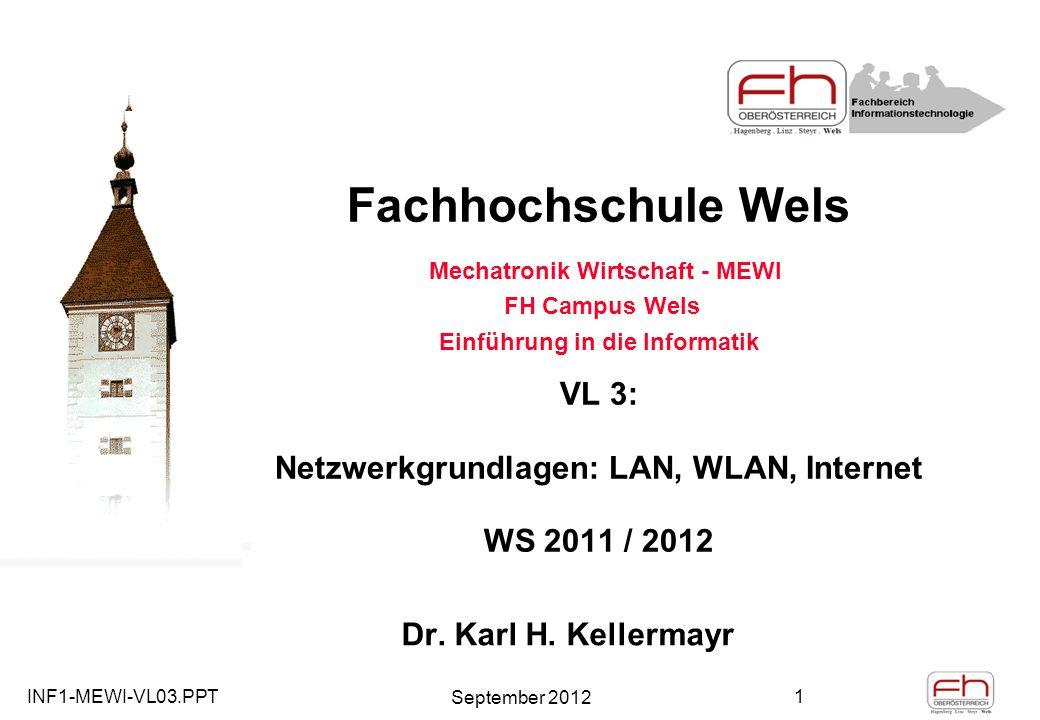 INF1-MEWI-VL03.PPT September 2012 1 Fachhochschule Wels Mechatronik Wirtschaft - MEWI FH Campus Wels Einführung in die Informatik VL 3: Netzwerkgrundlagen: LAN, WLAN, Internet WS 2011 / 2012 Dr.