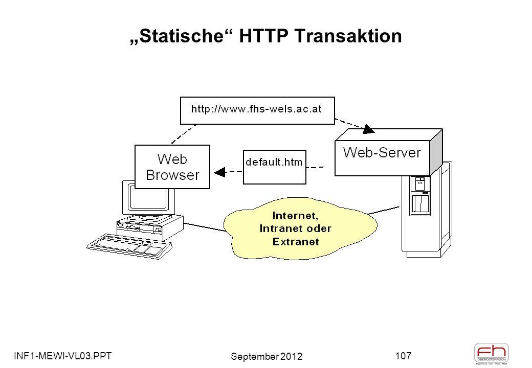 INF1-MEWI-VL03.PPT September 2012 107 Statische HTTP Transaktion