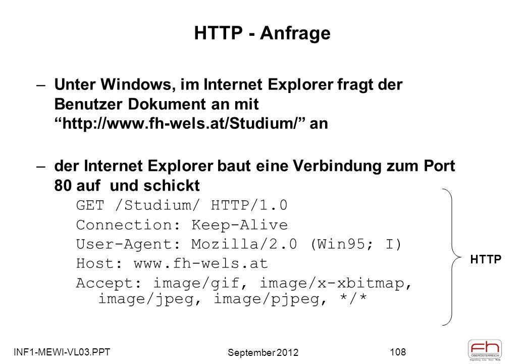 INF1-MEWI-VL03.PPT September 2012 108 HTTP - Anfrage –Unter Windows, im Internet Explorer fragt der Benutzer Dokument an mit http://www.fh-wels.at/Studium/ an –der Internet Explorer baut eine Verbindung zum Port 80 auf und schickt GET /Studium/ HTTP/1.0 Connection: Keep-Alive User-Agent: Mozilla/2.0 (Win95; I) Host: www.fh-wels.at Accept: image/gif, image/x-xbitmap, image/jpeg, image/pjpeg, */* HTTP