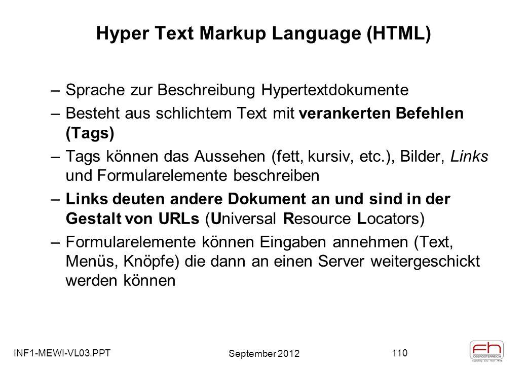 INF1-MEWI-VL03.PPT September 2012 110 Hyper Text Markup Language (HTML) –Sprache zur Beschreibung Hypertextdokumente –Besteht aus schlichtem Text mit verankerten Befehlen (Tags) –Tags können das Aussehen (fett, kursiv, etc.), Bilder, Links und Formularelemente beschreiben –Links deuten andere Dokument an und sind in der Gestalt von URLs (Universal Resource Locators) –Formularelemente können Eingaben annehmen (Text, Menüs, Knöpfe) die dann an einen Server weitergeschickt werden können