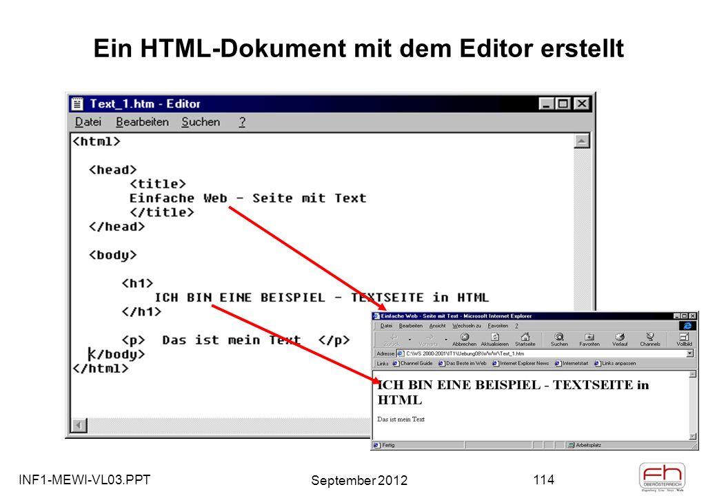 INF1-MEWI-VL03.PPT September 2012 114 Ein HTML-Dokument mit dem Editor erstellt