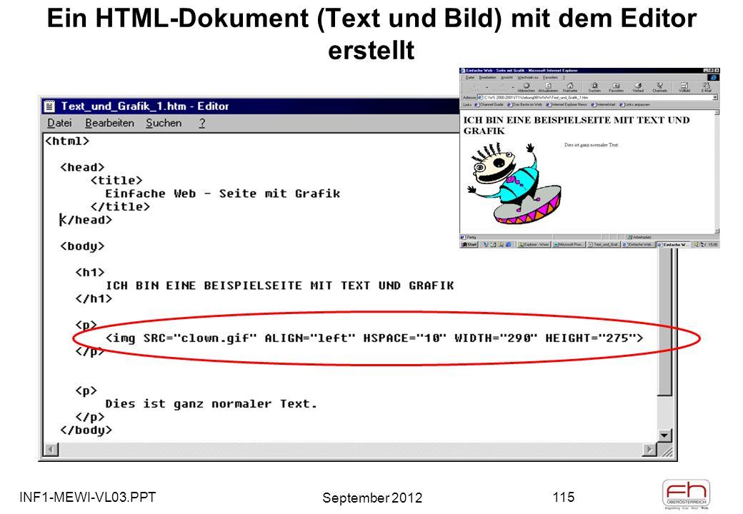 INF1-MEWI-VL03.PPT September 2012 115 Ein HTML-Dokument (Text und Bild) mit dem Editor erstellt