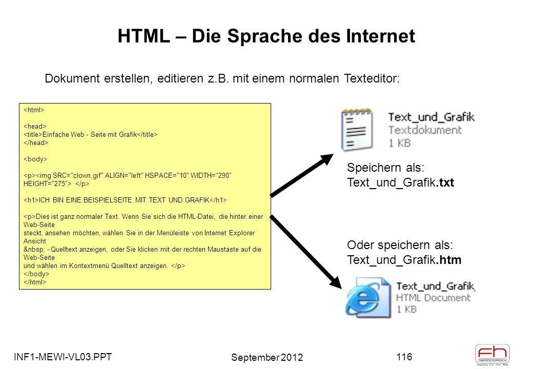 INF1-MEWI-VL03.PPT September 2012 116 HTML – Die Sprache des Internet Einfache Web - Seite mit Grafik ICH BIN EINE BEISPIELSEITE MIT TEXT UND GRAFIK Dies ist ganz normaler Text.