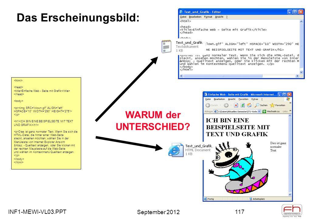 INF1-MEWI-VL03.PPT September 2012 117 Das Erscheinungsbild: Einfache Web - Seite mit Grafik ICH BIN EINE BEISPIELSEITE MIT TEXT UND GRAFIK Dies ist ganz normaler Text.