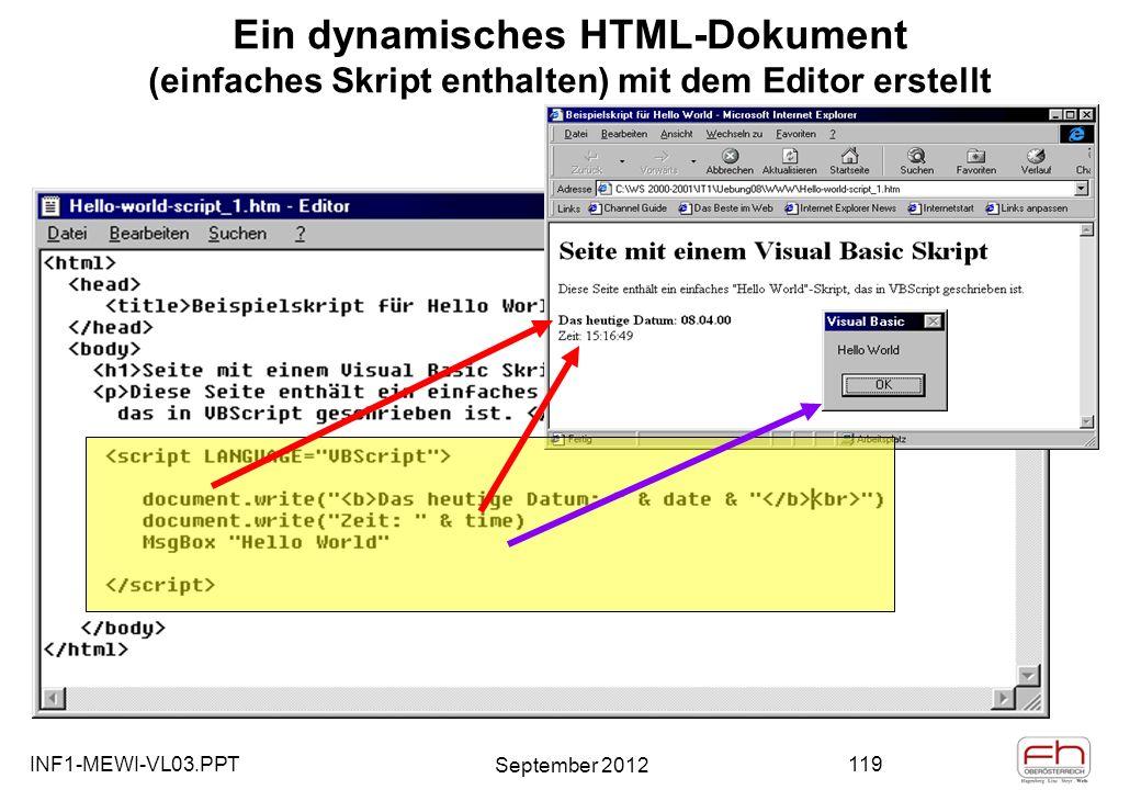 INF1-MEWI-VL03.PPT September 2012 119 Ein dynamisches HTML-Dokument (einfaches Skript enthalten) mit dem Editor erstellt