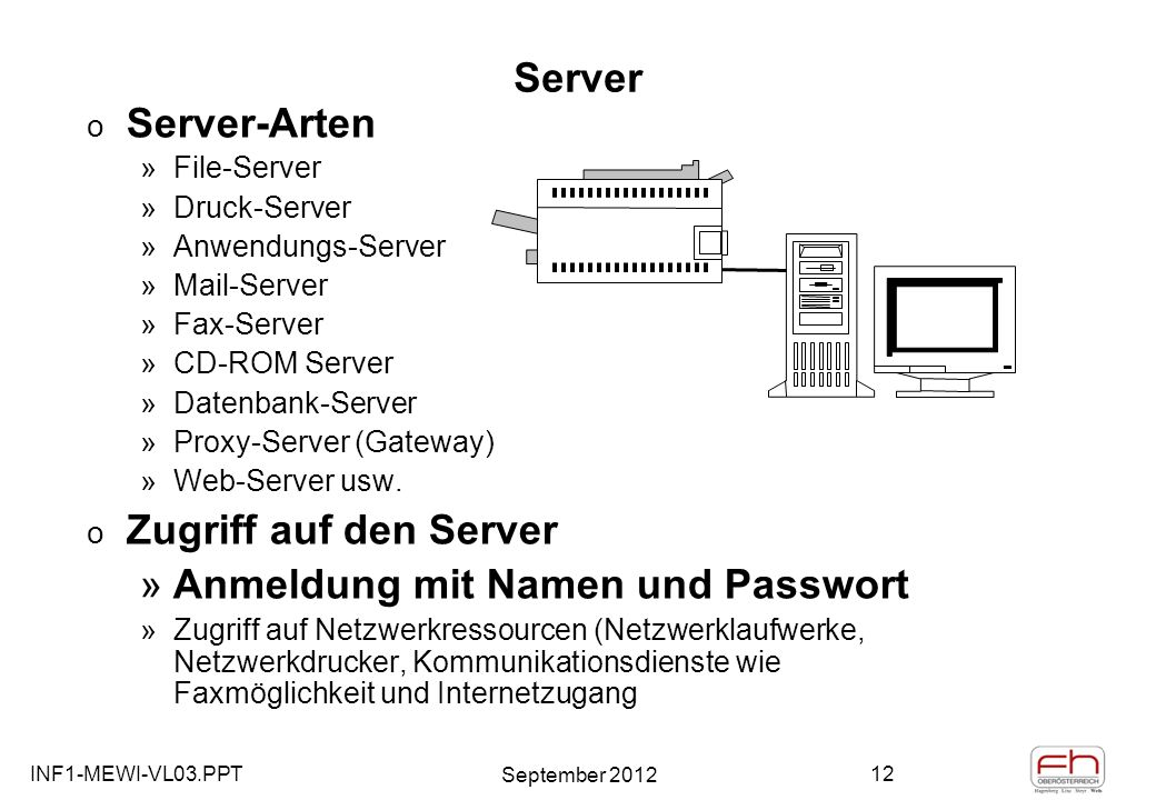 INF1-MEWI-VL03.PPT September 2012 12 Server o Server-Arten »File-Server »Druck-Server »Anwendungs-Server »Mail-Server »Fax-Server »CD-ROM Server »Date