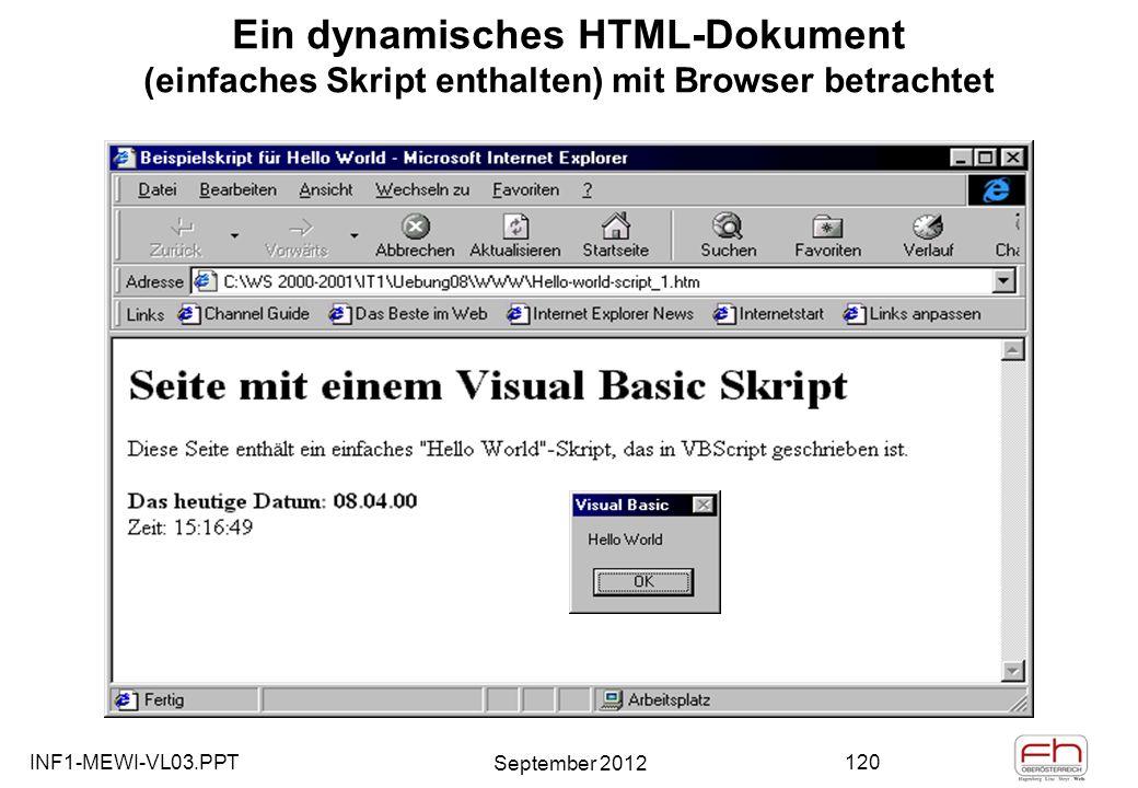 INF1-MEWI-VL03.PPT September 2012 120 Ein dynamisches HTML-Dokument (einfaches Skript enthalten) mit Browser betrachtet