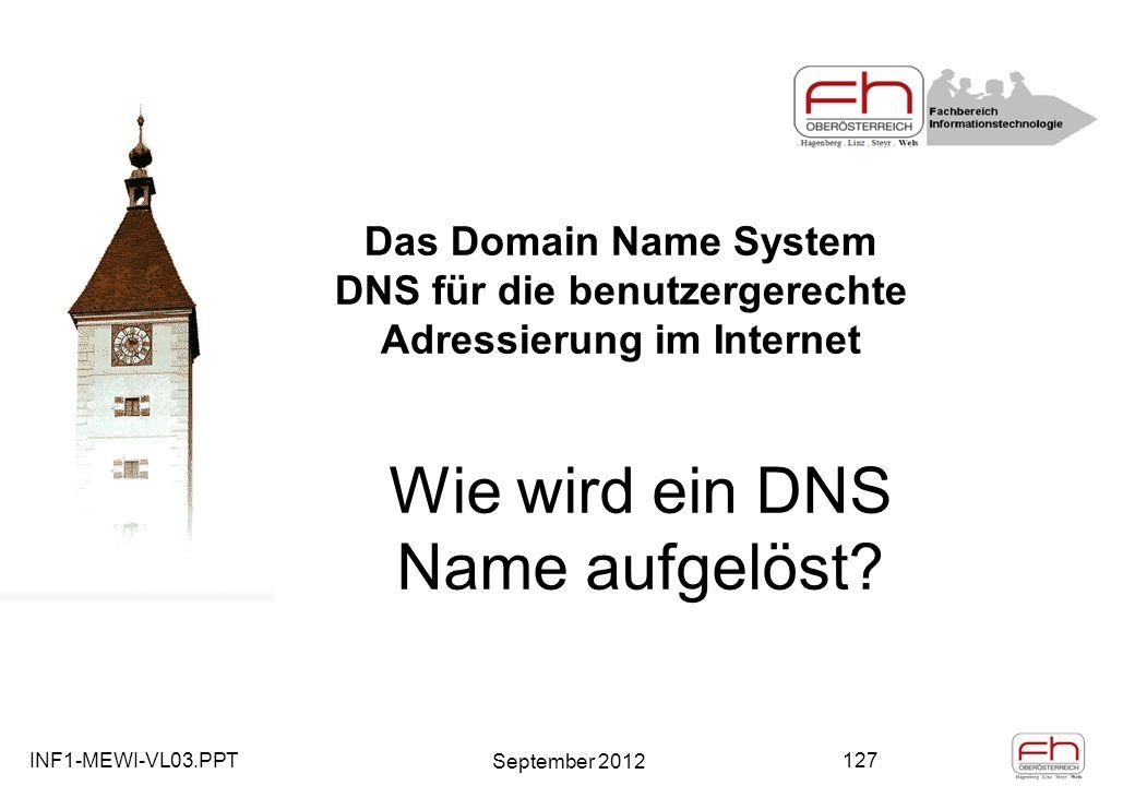 INF1-MEWI-VL03.PPT September 2012 127 Das Domain Name System DNS für die benutzergerechte Adressierung im Internet Wie wird ein DNS Name aufgelöst