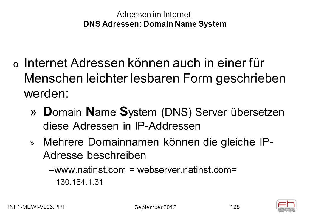 INF1-MEWI-VL03.PPT September 2012 128 Adressen im Internet: DNS Adressen: Domain Name System o Internet Adressen können auch in einer für Menschen leichter lesbaren Form geschrieben werden: »D omain N ame S ystem (DNS) Server übersetzen diese Adressen in IP-Addressen » Mehrere Domainnamen können die gleiche IP- Adresse beschreiben –www.natinst.com = webserver.natinst.com= 130.164.1.31