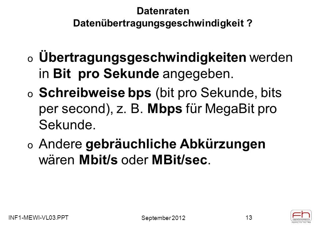 INF1-MEWI-VL03.PPT September 2012 13 Datenraten Datenübertragungsgeschwindigkeit .