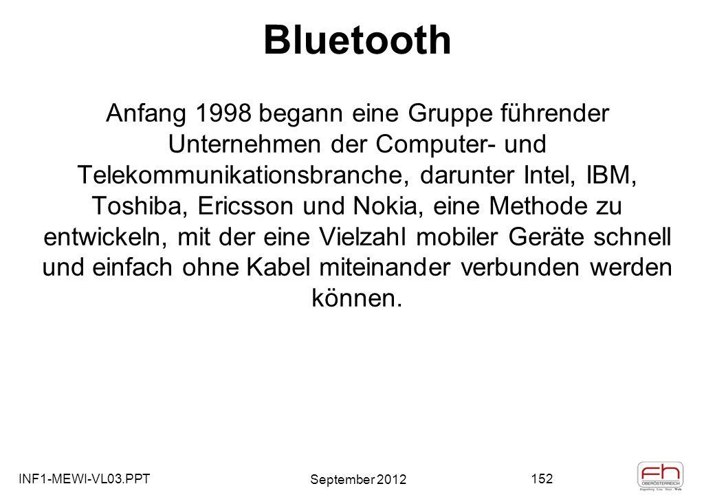 INF1-MEWI-VL03.PPT September 2012 152 Bluetooth Anfang 1998 begann eine Gruppe führender Unternehmen der Computer- und Telekommunikationsbranche, darunter Intel, IBM, Toshiba, Ericsson und Nokia, eine Methode zu entwickeln, mit der eine Vielzahl mobiler Geräte schnell und einfach ohne Kabel miteinander verbunden werden können.