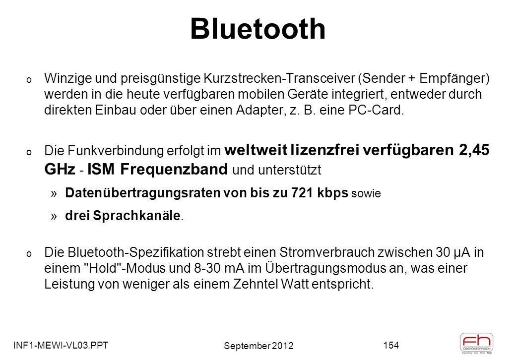INF1-MEWI-VL03.PPT September 2012 154 Bluetooth o Winzige und preisgünstige Kurzstrecken-Transceiver (Sender + Empfänger) werden in die heute verfügbaren mobilen Geräte integriert, entweder durch direkten Einbau oder über einen Adapter, z.