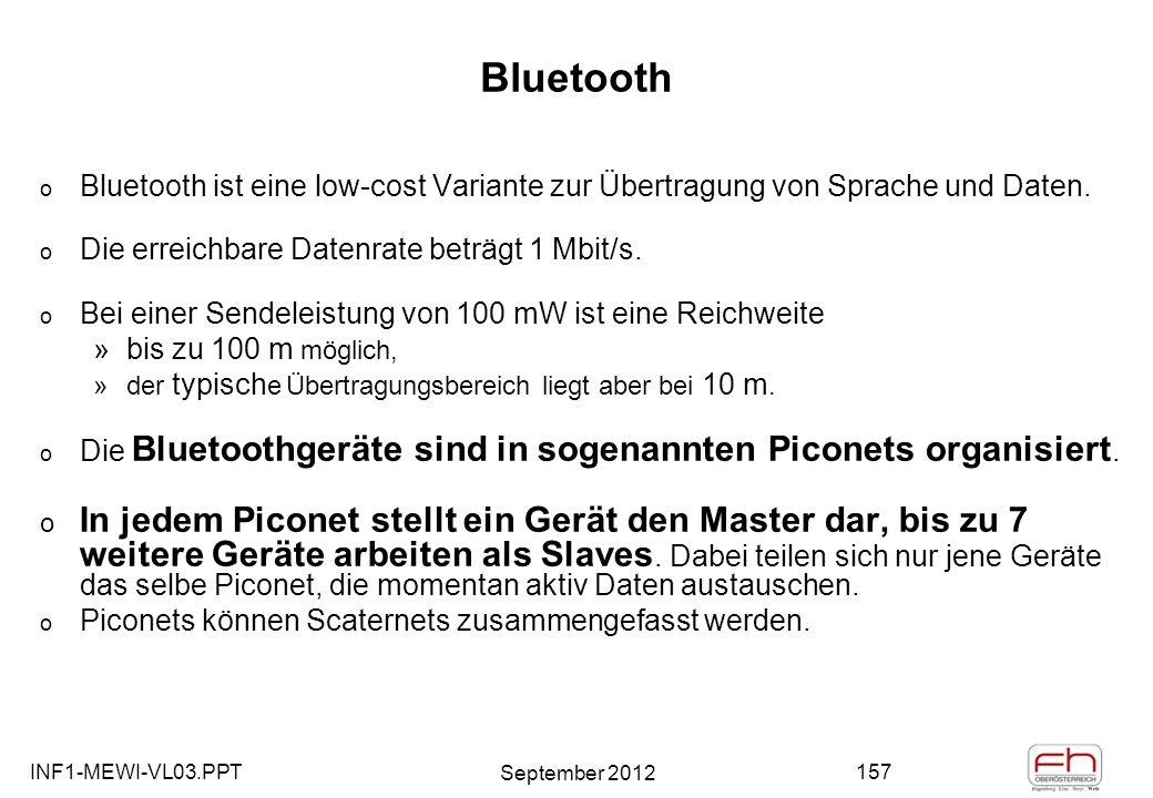 INF1-MEWI-VL03.PPT September 2012 157 Bluetooth o Bluetooth ist eine low-cost Variante zur Übertragung von Sprache und Daten.