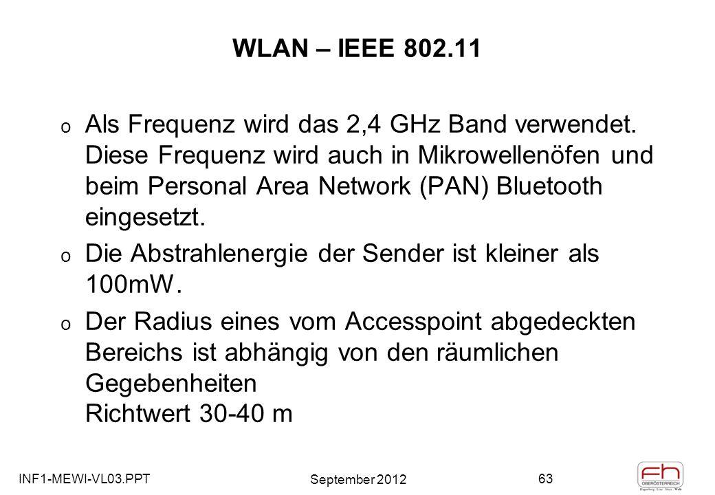 INF1-MEWI-VL03.PPT September 2012 63 WLAN – IEEE 802.11 o Als Frequenz wird das 2,4 GHz Band verwendet.
