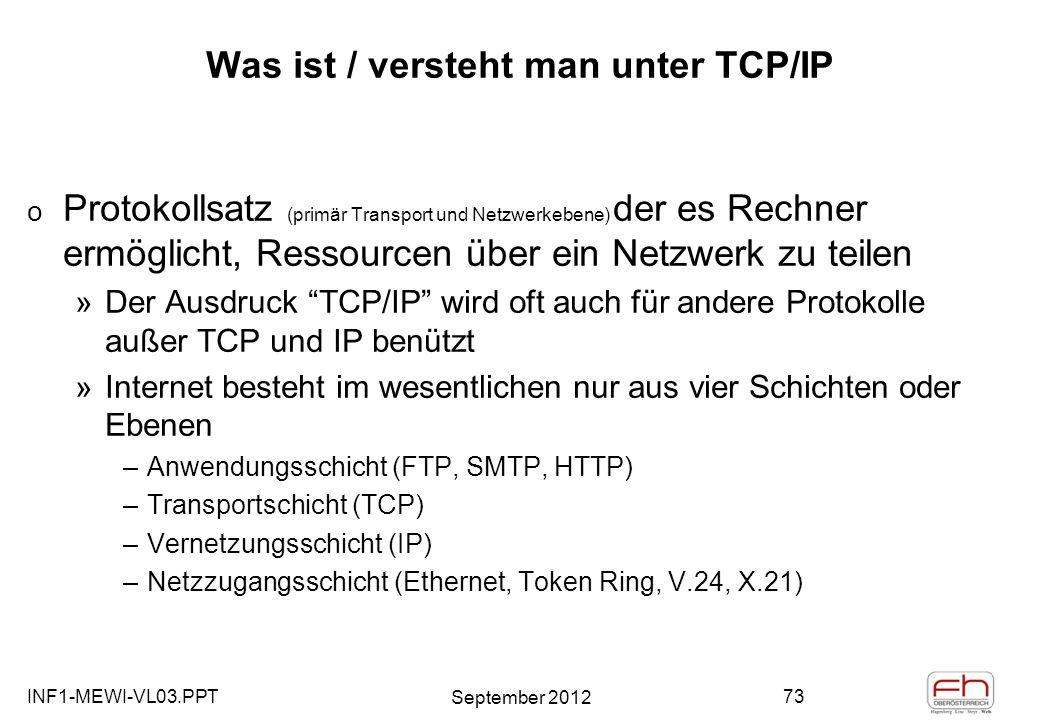 INF1-MEWI-VL03.PPT September 2012 73 Was ist / versteht man unter TCP/IP o Protokollsatz (primär Transport und Netzwerkebene) der es Rechner ermöglicht, Ressourcen über ein Netzwerk zu teilen »Der Ausdruck TCP/IP wird oft auch für andere Protokolle außer TCP und IP benützt »Internet besteht im wesentlichen nur aus vier Schichten oder Ebenen –Anwendungsschicht (FTP, SMTP, HTTP) –Transportschicht (TCP) –Vernetzungsschicht (IP) –Netzzugangsschicht (Ethernet, Token Ring, V.24, X.21)