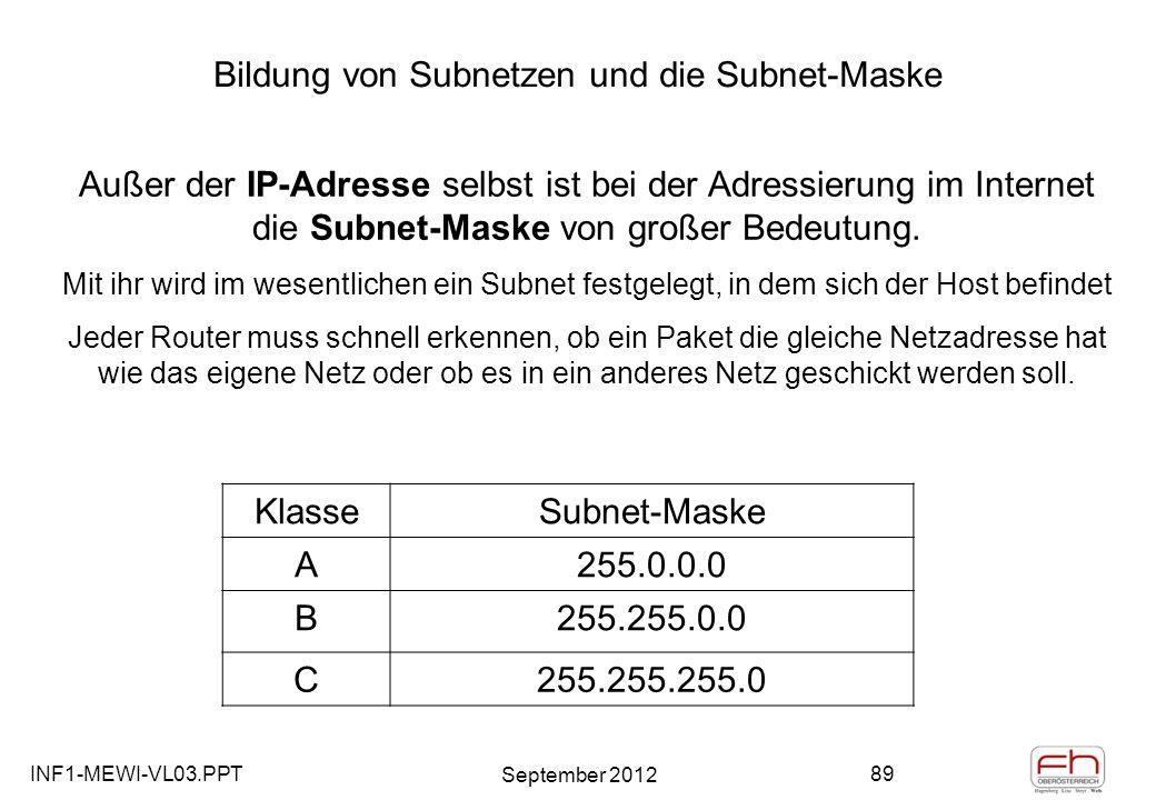INF1-MEWI-VL03.PPT September 2012 89 Bildung von Subnetzen und die Subnet-Maske KlasseSubnet-Maske A255.0.0.0 B255.255.0.0 C255.255.255.0 Außer der IP-Adresse selbst ist bei der Adressierung im Internet die Subnet-Maske von großer Bedeutung.