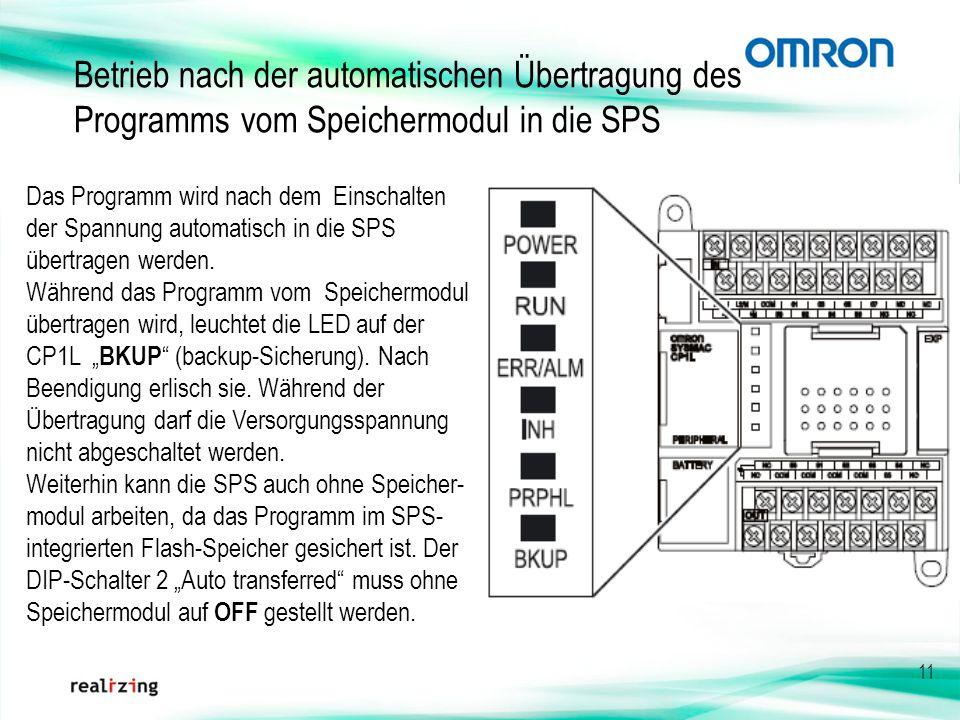 11 Betrieb nach der automatischen Übertragung des Programms vom Speichermodul in die SPS Das Programm wird nach dem Einschalten der Spannung automatis