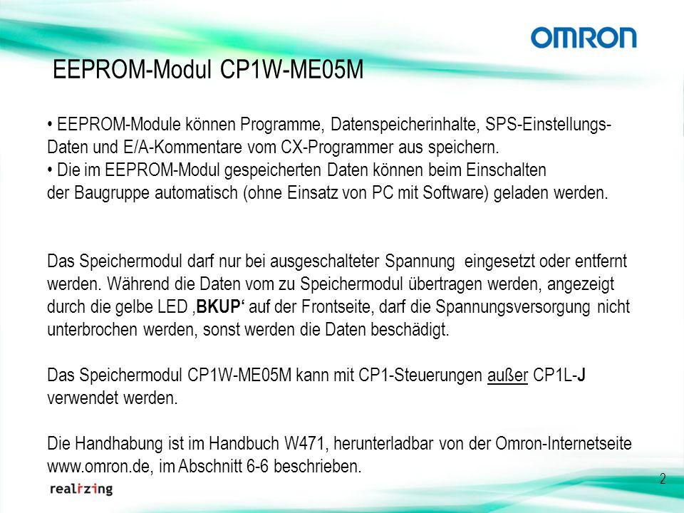 2 EEPROM-Modul CP1W-ME05M EEPROM-Module können Programme, Datenspeicherinhalte, SPS-Einstellungs- Daten und E/A-Kommentare vom CX-Programmer aus speic