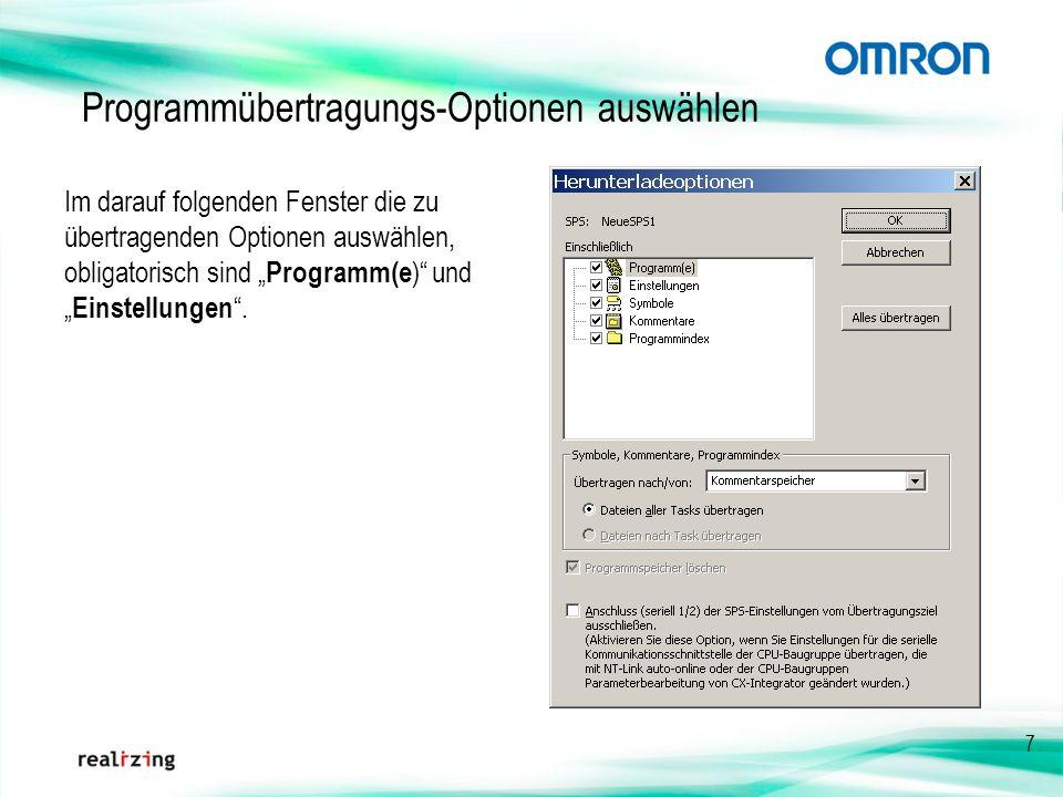 7 Im darauf folgenden Fenster die zu übertragenden Optionen auswählen, obligatorisch sind Programm(e ) und Einstellungen. Programmübertragungs-Optione