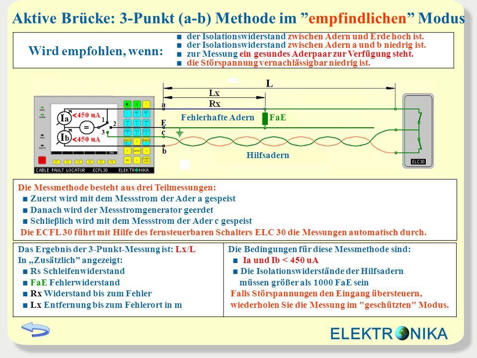 Aktive Brücke: 3-Punkt (a-b) Methode im empfindlichen Modus Wird empfohlen, wenn: der Isolationswiderstand zwischen Adern und Erde hoch ist. der Isola