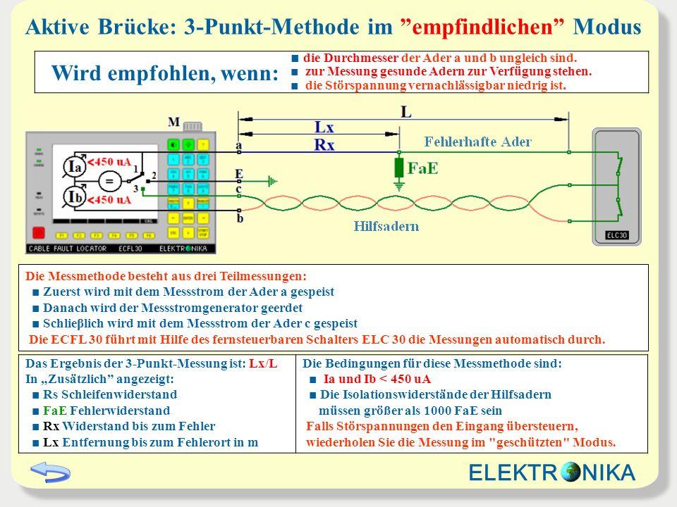 Aktive Brücke: 3-Punkt-Methode im empfindlichen Modus Das Ergebnis der 3-Punkt-Messung ist: Lx/L In Zusätzlich angezeigt: Rs Schleifenwiderstand FaE F