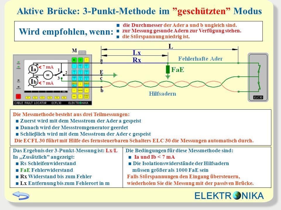 Aktive Brücke: 3-Punkt-Methode im geschützten Modus Wird empfohlen, wenn: die Durchmesser der Ader a und b ungleich sind. zur Messung gesunde Adern zu
