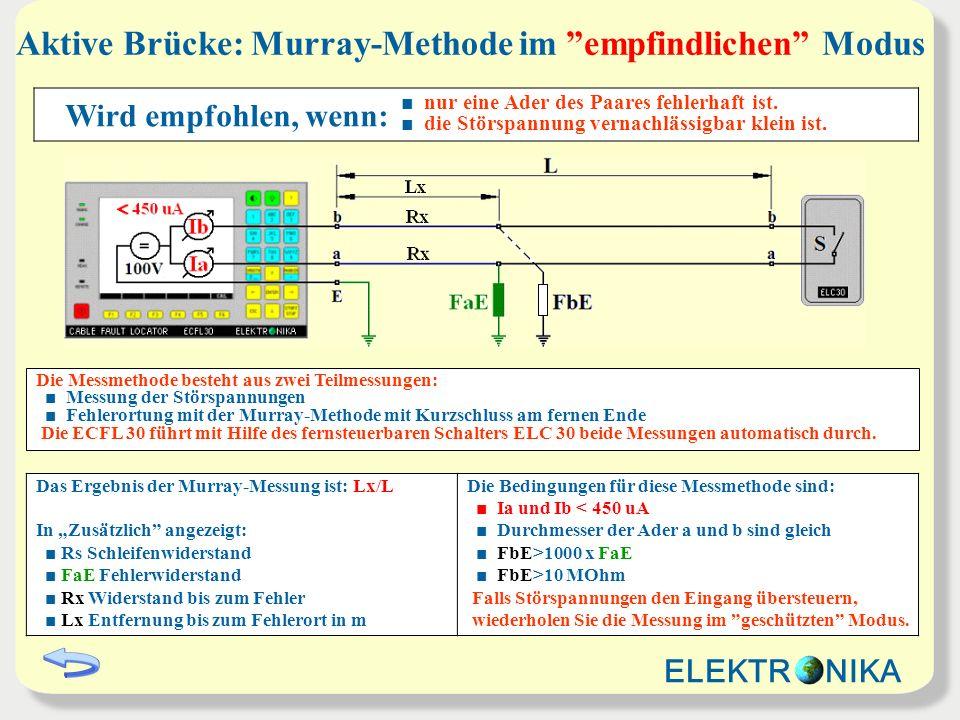 Aktive Brücke: Murray-Methode im empfindlichen Modus Das Ergebnis der Murray-Messung ist: Lx/L In Zusätzlich angezeigt: Rs Schleifenwiderstand FaE Feh