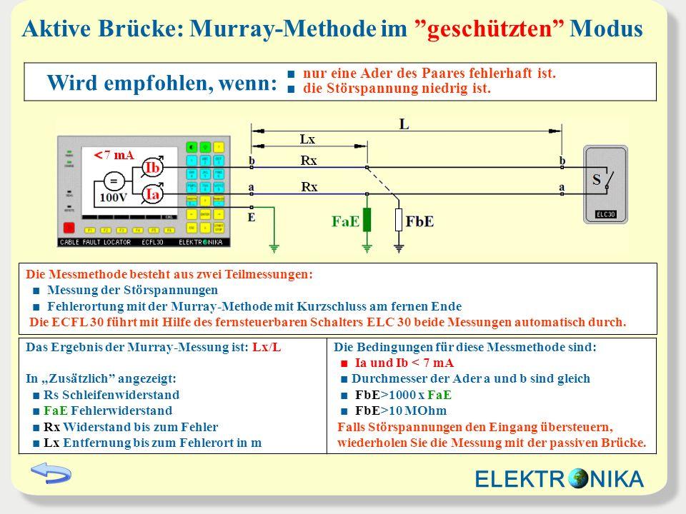 Aktive Brücke: Murray-Methode im geschützten Modus Das Ergebnis der Murray-Messung ist: Lx/L In Zusätzlich angezeigt: Rs Schleifenwiderstand FaE Fehle