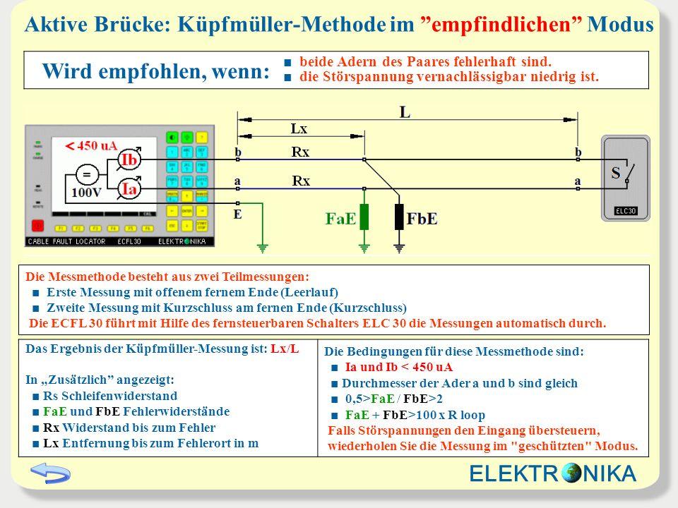 Aktive Brücke: Küpfmüller-Methode im empfindlichen Modus Das Ergebnis der Küpfmüller-Messung ist: Lx/L In Zusätzlich angezeigt: Rs Schleifenwiderstand