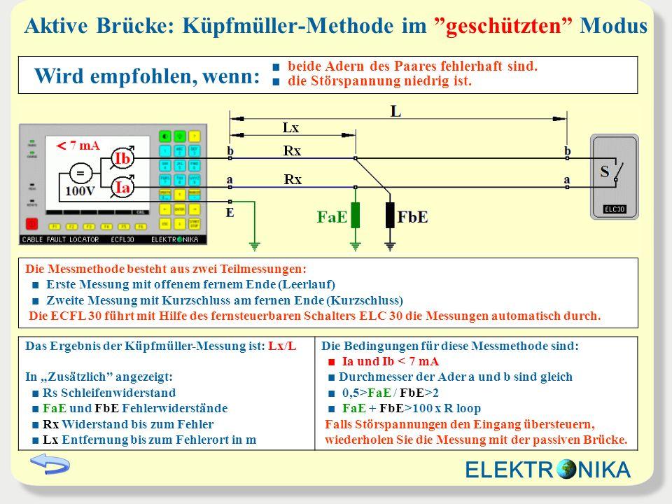Aktive Brücke: Küpfmüller-Methode im geschützten Modus Das Ergebnis der Küpfmüller-Messung ist: Lx/L In Zusätzlich angezeigt: Rs Schleifenwiderstand F