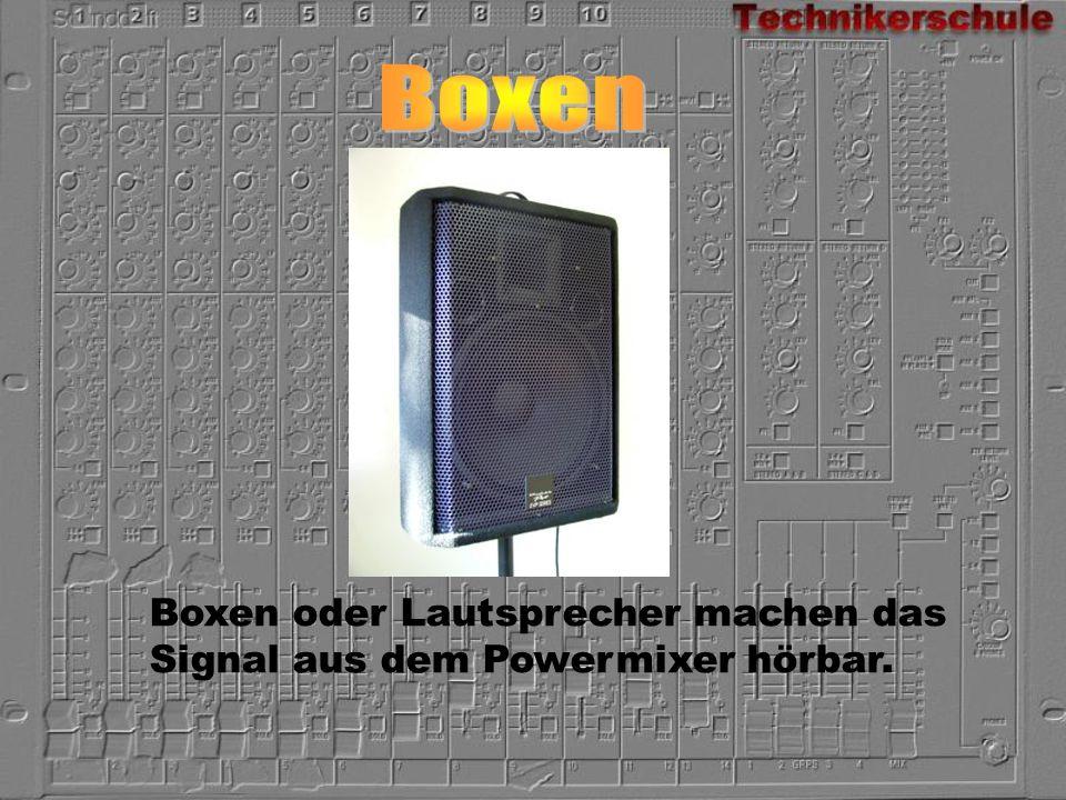 Boxen oder Lautsprecher machen das Signal aus dem Powermixer hörbar.