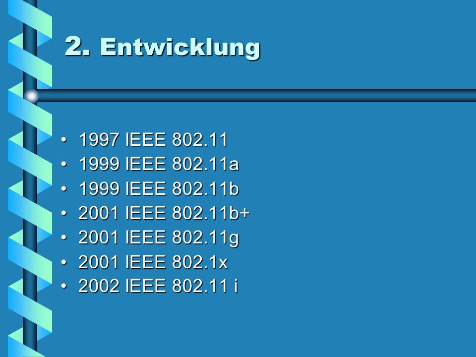 2. Geschichte 1922 erster Chipsatz1922 erster Chipsatz 1995/6 WaveLAN1995/6 WaveLAN 1997 IEEE 802.111997 IEEE 802.11 1997 2 Mbit Frequency Hooper1997