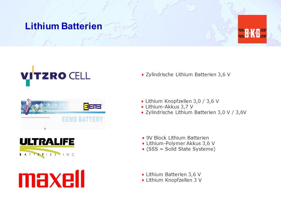 Lithium Batterien Zylindrische Lithium Batterien 3,6 V 9V Block Lithium Batterien Lithium-Polymer Akkus 3,6 V (SSS = Solid State Systeme) Lithium Knop