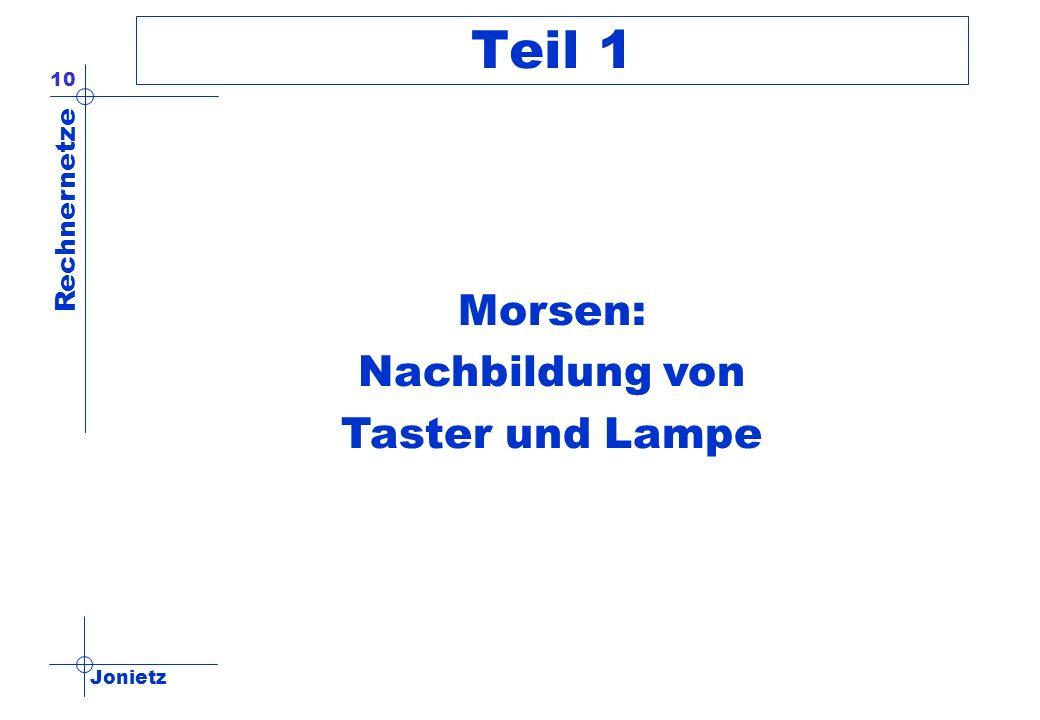 Jonietz Rechnernetze 10 Teil 1 Morsen: Nachbildung von Taster und Lampe