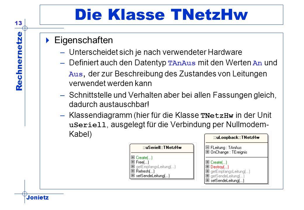 Jonietz Rechnernetze 13 Die Klasse TNetzHw Eigenschaften –Unterscheidet sich je nach verwendeter Hardware –Definiert auch den Datentyp TAnAus mit den
