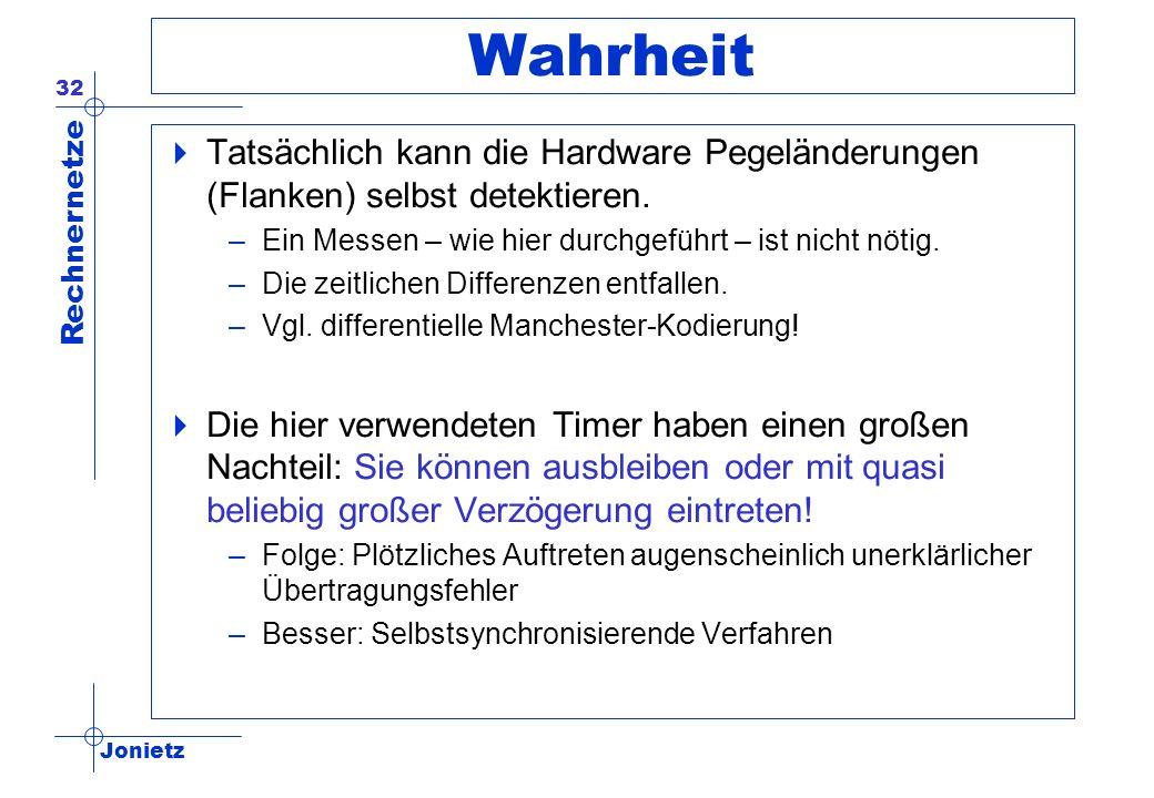 Jonietz Rechnernetze 32 Wahrheit Tatsächlich kann die Hardware Pegeländerungen (Flanken) selbst detektieren. –Ein Messen – wie hier durchgeführt – ist
