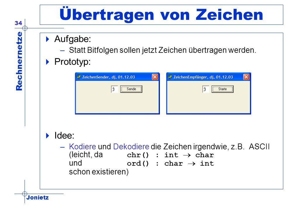 Jonietz Rechnernetze 34 Übertragen von Zeichen Aufgabe: –Statt Bitfolgen sollen jetzt Zeichen übertragen werden. Prototyp: Idee: –Kodiere und Dekodier