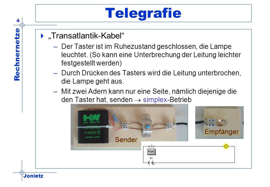 Jonietz Rechnernetze 4 Telegrafie Transatlantik-Kabel –Der Taster ist im Ruhezustand geschlossen, die Lampe leuchtet. (So kann eine Unterbrechung der
