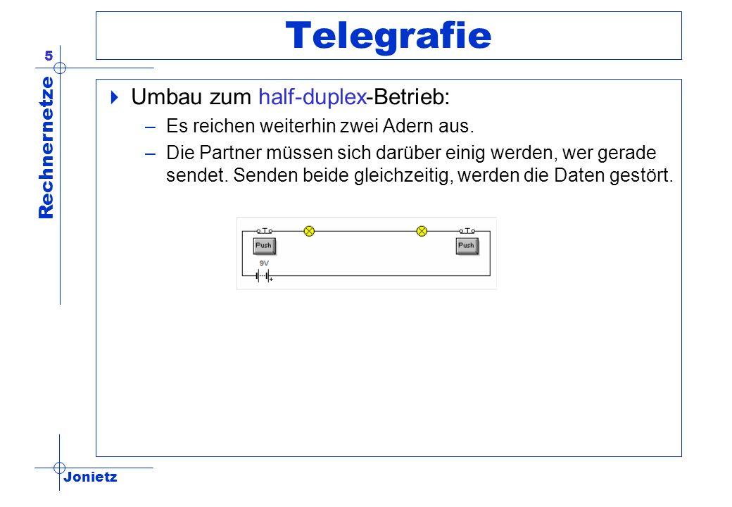Jonietz Rechnernetze 5 Telegrafie Umbau zum half-duplex-Betrieb: –Es reichen weiterhin zwei Adern aus. –Die Partner müssen sich darüber einig werden,