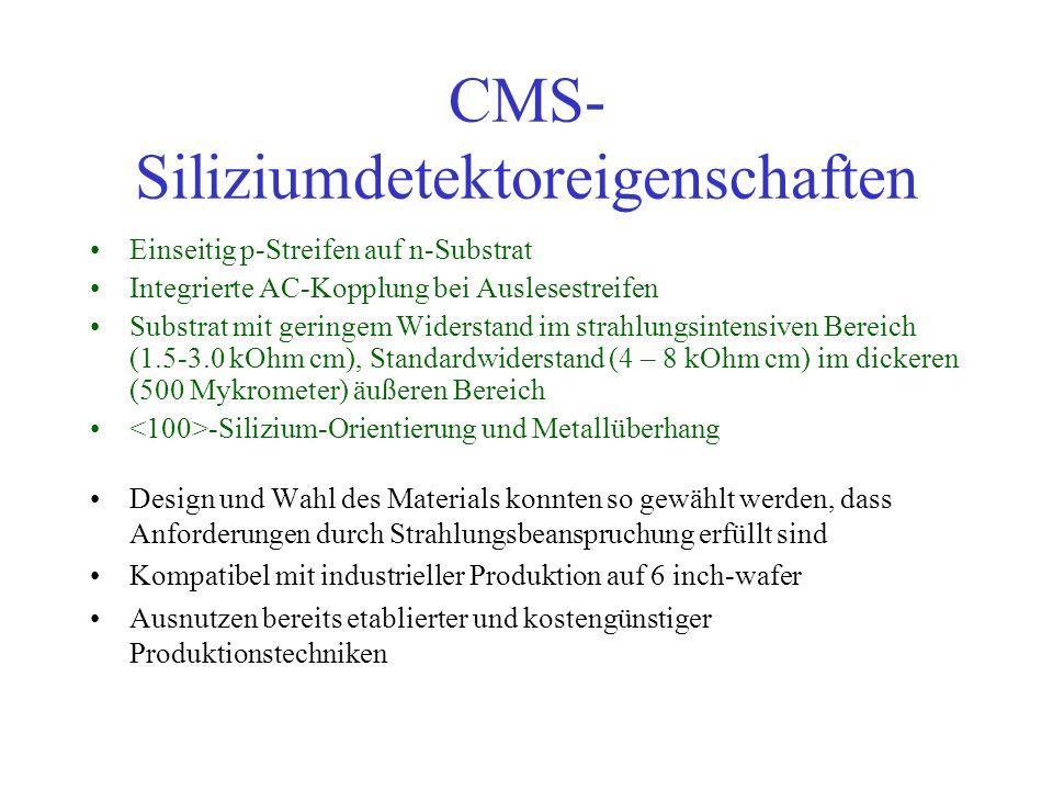 CMS- Siliziumdetektoreigenschaften Design und Wahl des Materials konnten so gewählt werden, dass Anforderungen durch Strahlungsbeanspruchung erfüllt s