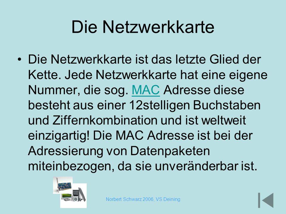 Norbert Schwarz 2006, VS Deining Die Netzwerkkarte Die Netzwerkkarte ist das letzte Glied der Kette. Jede Netzwerkkarte hat eine eigene Nummer, die so