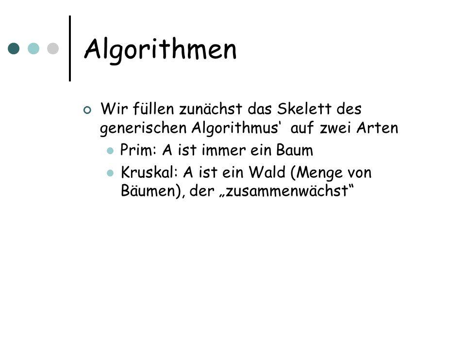Algorithmen Wir füllen zunächst das Skelett des generischen Algorithmus auf zwei Arten Prim: A ist immer ein Baum Kruskal: A ist ein Wald (Menge von Bäumen), der zusammenwächst
