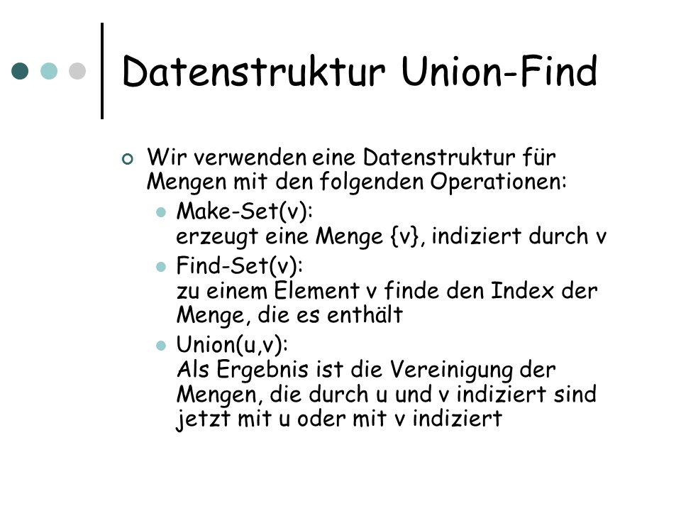 Datenstruktur Union-Find Wir verwenden eine Datenstruktur für Mengen mit den folgenden Operationen: Make-Set(v): erzeugt eine Menge {v}, indiziert durch v Find-Set(v): zu einem Element v finde den Index der Menge, die es enthält Union(u,v): Als Ergebnis ist die Vereinigung der Mengen, die durch u und v indiziert sind jetzt mit u oder mit v indiziert